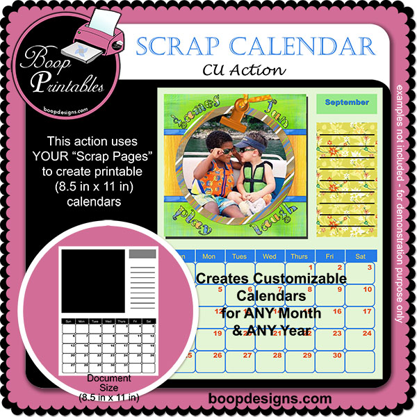 Printable Scrap Calendar ACTION by Boop Designs