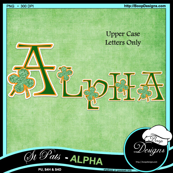 St Pats Green Alpha's by Boop Designs