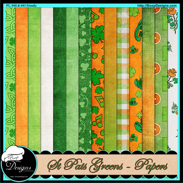 St Pats Green Paper Pack by Boop Designs