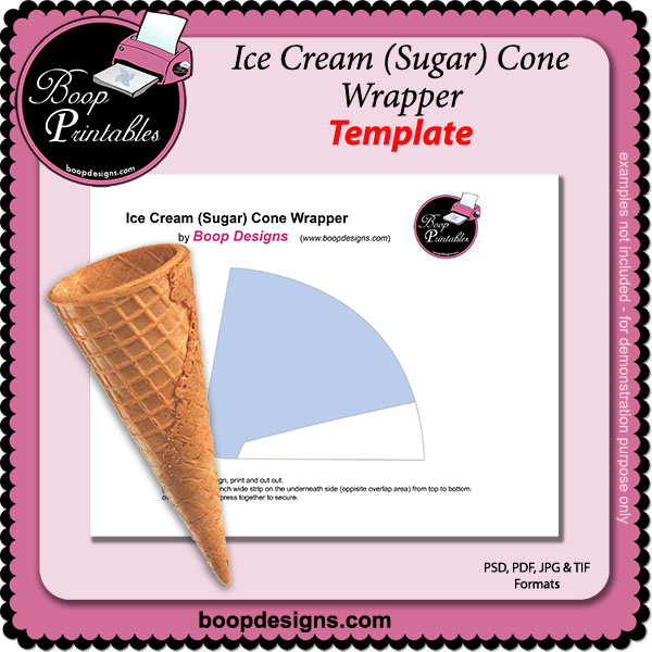 Ice Cream Sugar Cone TEMPLATE Wrapper by Boop Printable Designs