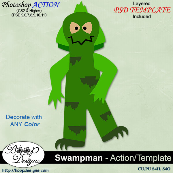 Swamp Man ACTION - TEMPLATE by Boop Designs