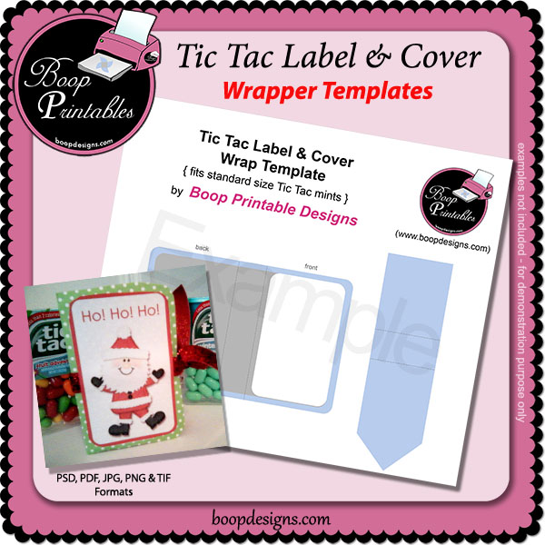 Tic Tac Label & Cover Wrapper TEMPLATE by Boop Printable Designs