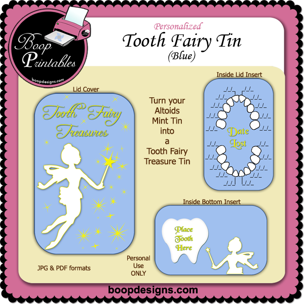 Tooth Fairy Altoid Tin Blue by Boop Printable Designs