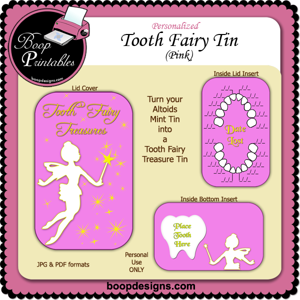 Tooth Fairy Altoid Tin Pink by Boop Printable Designs
