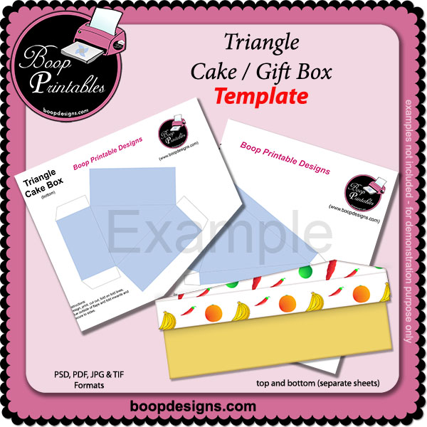 Triangle Cake Box TEMPLATE by Boop Printable Designs