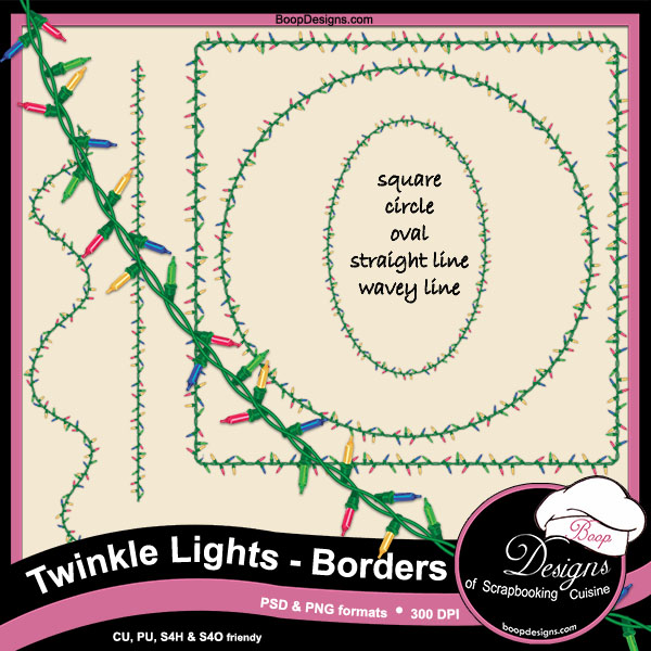 Twinkle Lights - Frame Borders by Boop Designs