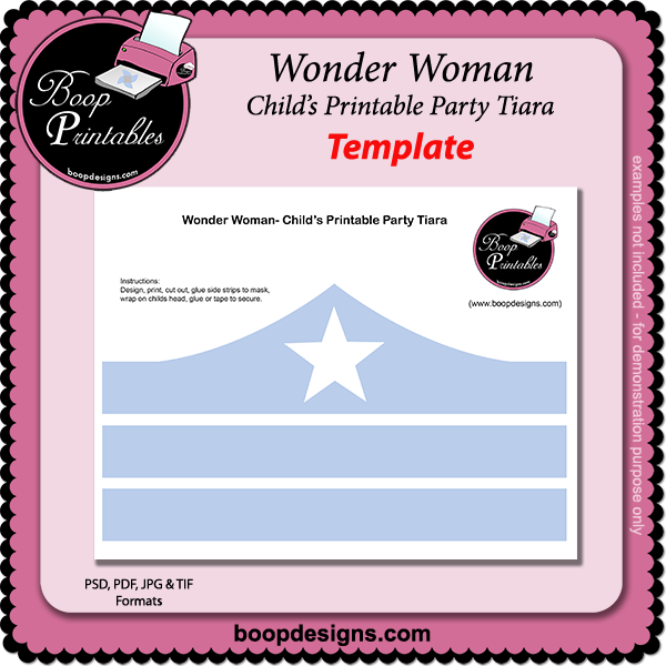 Wonder Woman - Printable tiara TEMPLATE by Boop Printables