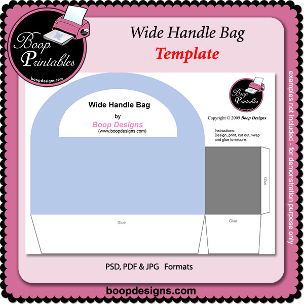 Wide Handle Bag TEMPLATE by Boop Printable Designs