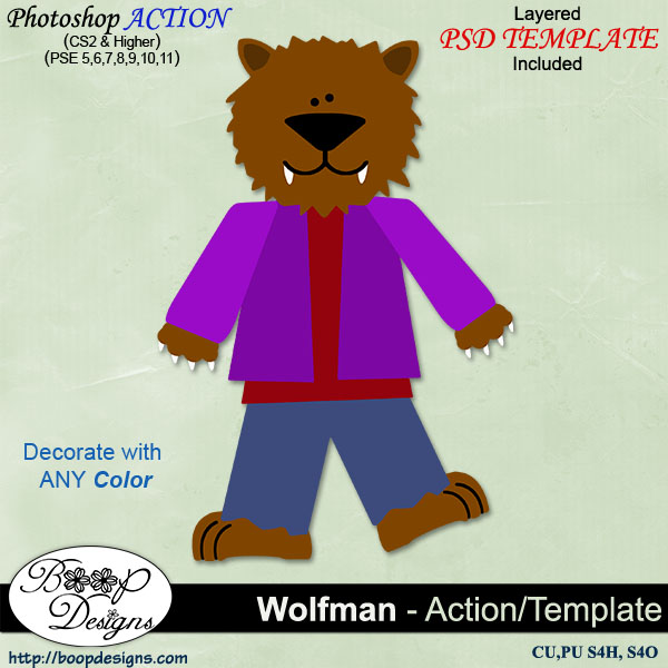 Wolf Man (Werewolf) by Boop Designs